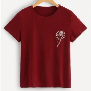 Tops - Red With Flower T-Shirt